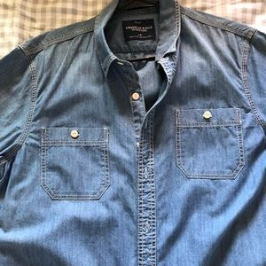 Jean Button Up Casual Shirt American Eagle